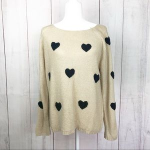 LC Lauren Conrad Sweaters - Lauren Conrad Tan/Black Heart Print Sweater